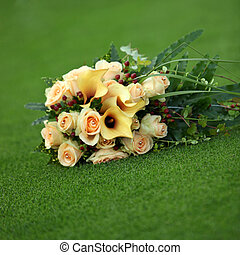 Bouquet of yellow callas and roses - Bouquet of yellow...