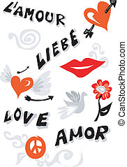 Love icons poster - Word love written in different languages...