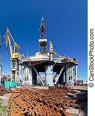 Platform in the shipyard - Repair of oil rig in the shipyard...