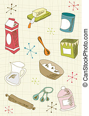 Retro cuisine icon set - Kitchen retro elements over cream...