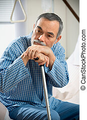 in hospital - senior man in hospital