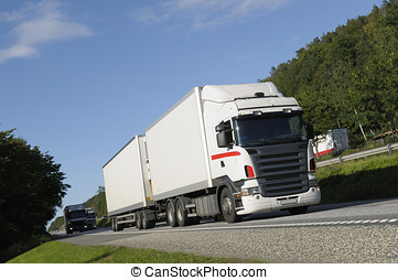 truck haulage on highway - white clean truck driving scenic...