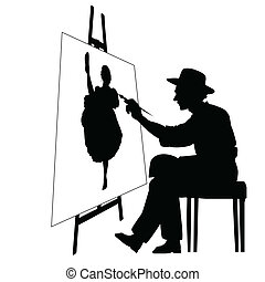 Artist with easel