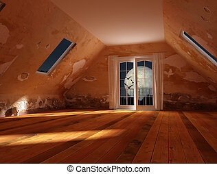 Halloween night - attic of an old house the night of...