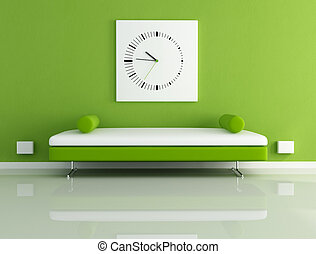 velvet sofa and clock - velvet sofa in a modern living room...