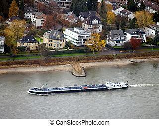 A ship on the river Rhein in the villas quarter of Bonn