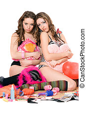 Two offended young women. Isolated