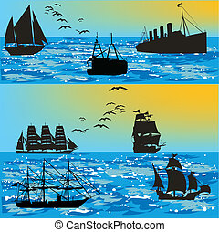 ships at sea-vector silhouettes