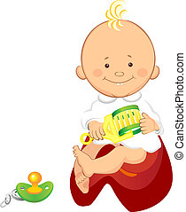 baby with a rattle is sitting on the pot - little boy with a...