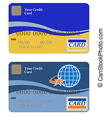 Credit card - Two credit cards on a white background