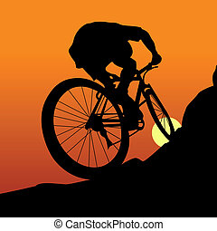 Cyclist - The sportsman on a bicycle leave on a mountain