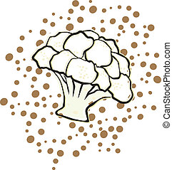 Cauliflower on a polka dot background Background is on a...