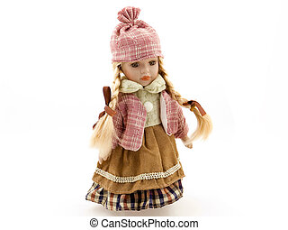 Porcelain Doll - Standing porcelain doll in a pink hat and a...
