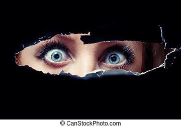 Women's blue eyes spying