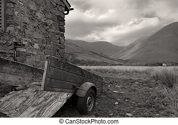 Old trailer - An old trailer sits behind a barn in cumbria...