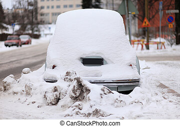 Car Covered by Snow - Rear View
