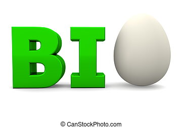 Egg Word BIO Glossy Green-Eggshell White - glossy green word...