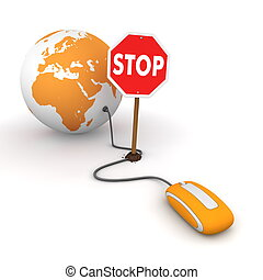 Surfing the Web in Orange - Blocked by a Stop sign - orange...