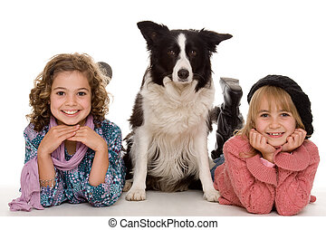 children - two beautiful children with bordercollie
