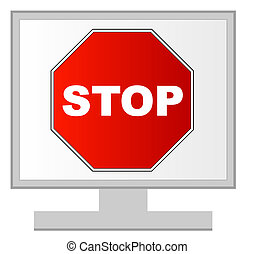 computer monitor with stop sign on screen