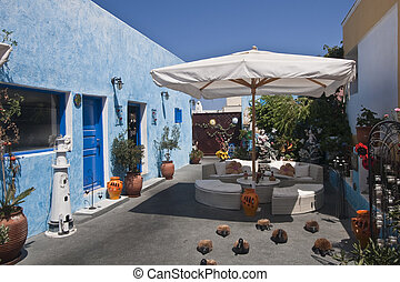 resting place in Santorini - resting place in a courtyard in...