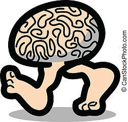 Brain walking on two legs - Funny, cartoon brain walking or...