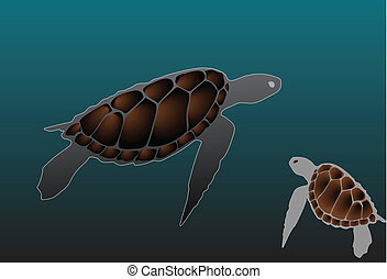 Turtle swiming vector