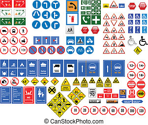 traffic signs with details ready to use vector