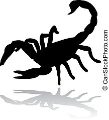 black scorpion vector silhouette isolated on white