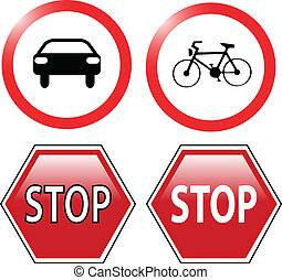 traffic ban and stop signs