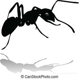 ant silhouette vector with shadow