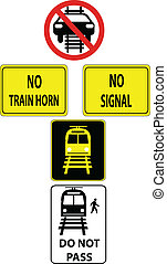 a set of train traffic signs