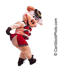 Swine mascot costume dance striptease in hat - Pig mascot...
