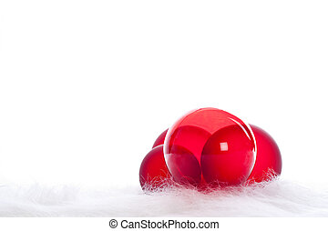 Four red christmas baubles - Arrangement of 4 red christmas...