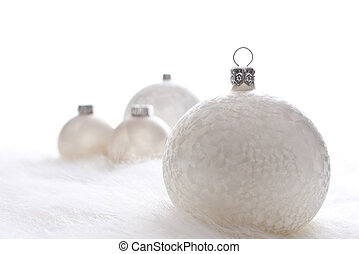 White christmas baubles - Arrangement of white christmas...