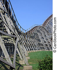 Roller coaster life - Flowing view of wooden roller coaster