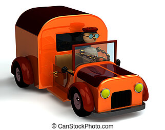 3d wood man as a driver in the truck