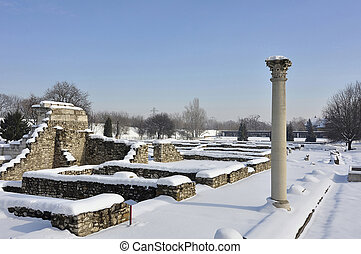 Roman ruins in Budapest Hungary in Winter - Ancient ruins in...