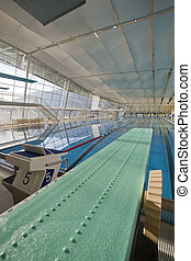 Indoor swimming pool with spring board