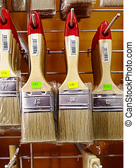 Paint brushes in a paiter store