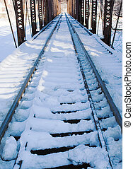 Snow on railroad tressle - Winter scene of snowy railroad...