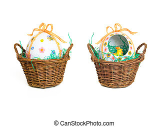 Easter basket - Handmade easter basket isolated on a white...
