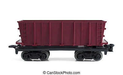 Open freight car - Toy plastic open freight car isolated on...