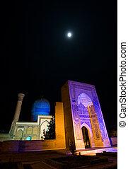 Gur Emir Mausoleum at night, Samarkand, Uzbekistan