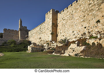 Protective wall - The ancient walls surrounding Old city in...