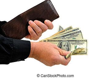 Man handing money from wallet - Man handing money. Empty...