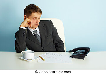 business man waiting for a phone call - thoughtful man in...