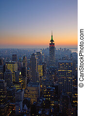 panorama of manhattan at sunset, new york