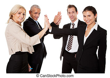 Business high five - Businesspeople exchange a high-five...