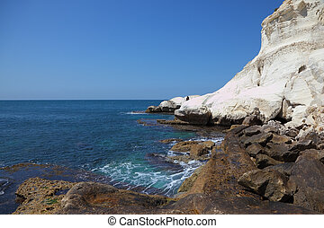 Snow-white rocks and grottoes Rosch-a-Nikra - Northern...